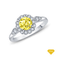 14K White Gold Petal Designed Shank with Intricate Halo Accents Engagement Ring Yellow Sapphire Top View