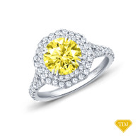 14K White Gold Split Shank Octagenol Double Halo Accents Setting Yellow Sapphire Top View