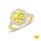 14K White Gold Tapered Double Prong Scroll Design Setting Yellow Sapphire Finger View