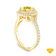 14K Yellow Gold Tapered Double Prong Scroll Design Setting Yellow Sapphire Top View
