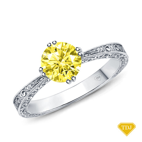 14K White Gold Tapered Double Prong Scroll Design Setting Yellow Sapphire Top View