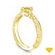 14K Yellow Gold Scroll Filigree Accent Diamond Engagement Ring Yellow Sapphire Top View