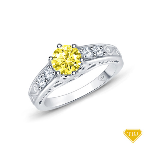 14K White Gold Scroll Filigree Accent Diamond Engagement Ring Yellow Sapphire Top View