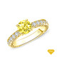 14K White Gold Vintage Inspired Petals Floral Setting Yellow Sapphire Finger View