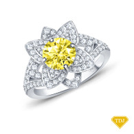 14K White Gold Vintage Inspired Petals Floral Setting Yellow Sapphire Top View