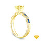 14K Yellow Gold Sapphire Side Stones Three Stone Engagement Ring Yellow Sapphire Top View