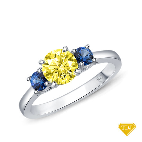 14K White Gold Sapphire Side Stones Three Stone Engagement Ring Yellow Sapphire Top View