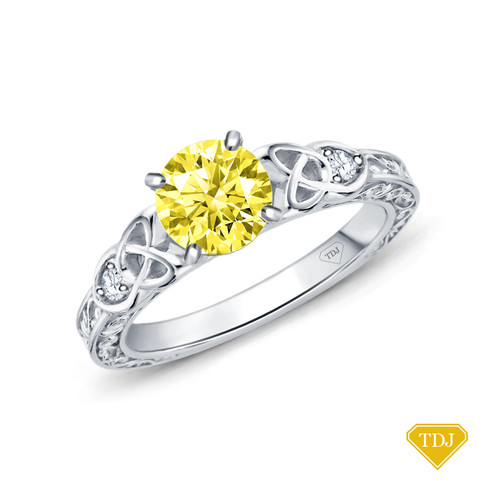 14K White Gold Antique Scroll Design Diamond Engagement Ring Yellow Sapphire Top View