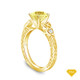 14K Yellow Gold Dual Band Accent Diamond Engagement Ring Yellow Sapphire Top View