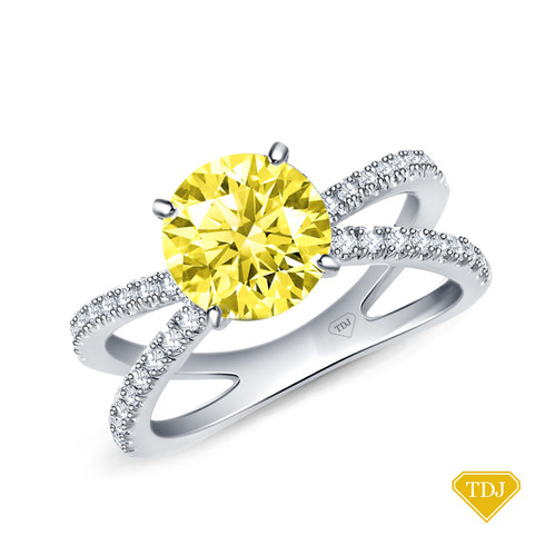 14K White Gold Dual Band Accent Diamond Engagement Ring Yellow Sapphire Top View