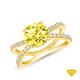 14K White Gold Split Shank Double Halo Accents Engagement Ring Yellow Sapphire Finger View