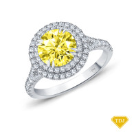 14K White Gold Split Shank Double Halo Accents Engagement Ring Yellow Sapphire Top View