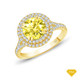 14K White Gold Antique Scroll Halo Style Engagement Ring Yellow Sapphire Finger View