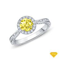 14K White Gold Antique Scroll Halo Style Engagement Ring Yellow Sapphire Top View
