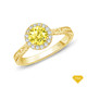 14K White Gold Enchanting Hexagonal Halo Accent Ring Yellow Sapphire Finger View