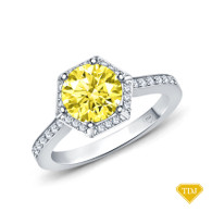 14K White Gold Enchanting Hexagonal Halo Accent Ring Yellow Sapphire Top View