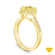 14K Yellow Gold Love Knot With Side Accents Ring Yellow Sapphire Top View