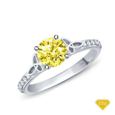 14K White Gold Love Knot With Side Accents Ring Yellow Sapphire Top View
