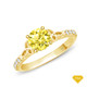 14K White Gold Romancing Love Knot Diamond Solitaire Ring Yellow Sapphire Finger View
