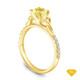 14K Yellow Gold Romancing Love Knot Diamond Solitaire Ring Yellow Sapphire Top View