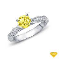 14K White Gold Unique Marquise Design Engagement Ring Yellow Sapphire Top View