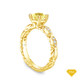 14K Yellow Gold Dual Side Bar Pave Accents Engagement Ring Yellow Sapphire Top View