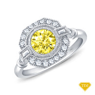 14K White Gold Baguette & Round Accents Antique Diamond Engagement Ring Yellow Sapphire Top View