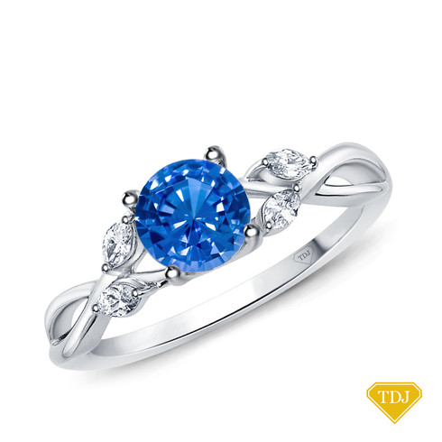 14K White Gold Vine and Leaves Style Marquise Bud Diamond Engagement Ring Blue Sapphire Top View