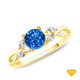 14K White Gold Twisted Vine Diamond Engagement Ring Blue Sapphire Finger View