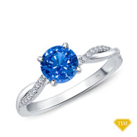 14K White Gold Twisted Vine Diamond Engagement Ring Blue Sapphire Top View