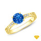 14K White Gold Delicate Tapered Pave Set Engagement Ring Blue Sapphire Finger View