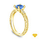 14K Yellow Gold Delicate Tapered Pave Set Engagement Ring Blue Sapphire Top View