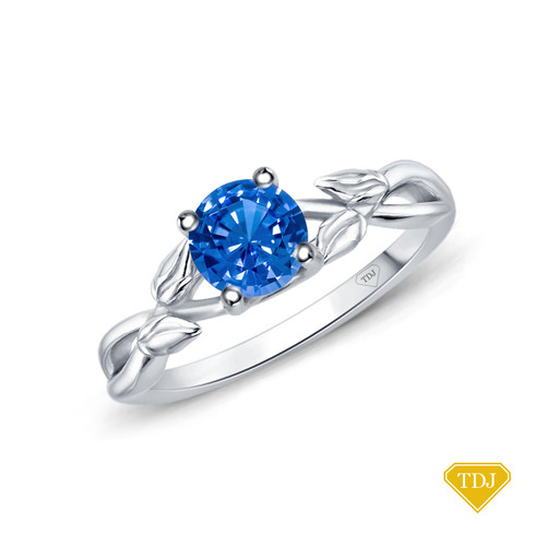 14K White Gold Interwine Budding Style Nature Inspired Solitaire Ring Blue Sapphire Top View