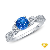 14K White Gold A Vine Inspired Marquise and Round Bud Diamond Engagement Ring Blue Sapphire Top View