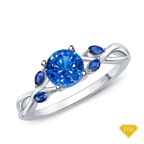14K White Gold Marquise Blue Sapphire Accents - Leaves  and Vine Style Engagement Ring Blue Sapphire Top View