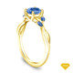 14K Yellow Gold A Nature Inspired Leaves Marquise Blue Sapphire & Round Diamond Ring Blue Sapphire Top View