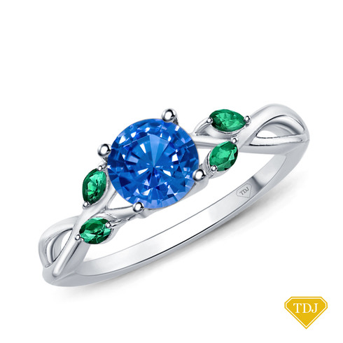 14K White Gold Marquise Green Emerald Accents - Leaves and Vine Style Engagement Ring Blue Sapphire Top View
