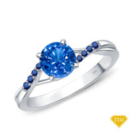 14K White Gold Delicate Tapered Pave Sapphire Engagement Ring Blue Sapphire Top View