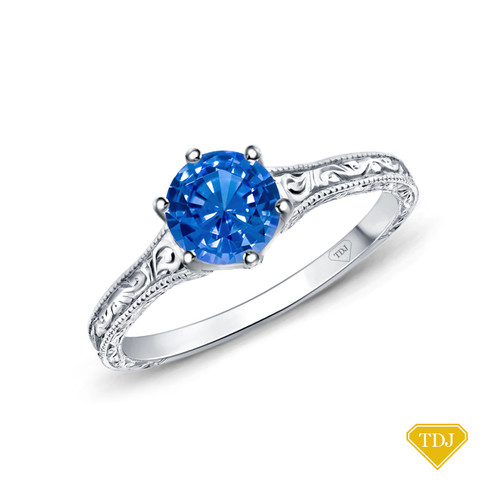 14K White Gold A Truly Vintage Hand Engraved Milgrain Engagement Setting Blue Sapphire Top View