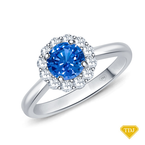 14K White Gold Intricate Flower Design Halo Engagement Ring Blue Sapphire Top View
