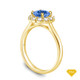 14K Yellow Gold Flower Inspired Halo Accents Engagement Ring Blue Sapphire Top View