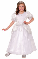Deluxe Princess Pearl Costume Fancy Dress White Wedding Gown Hoop Girls Child