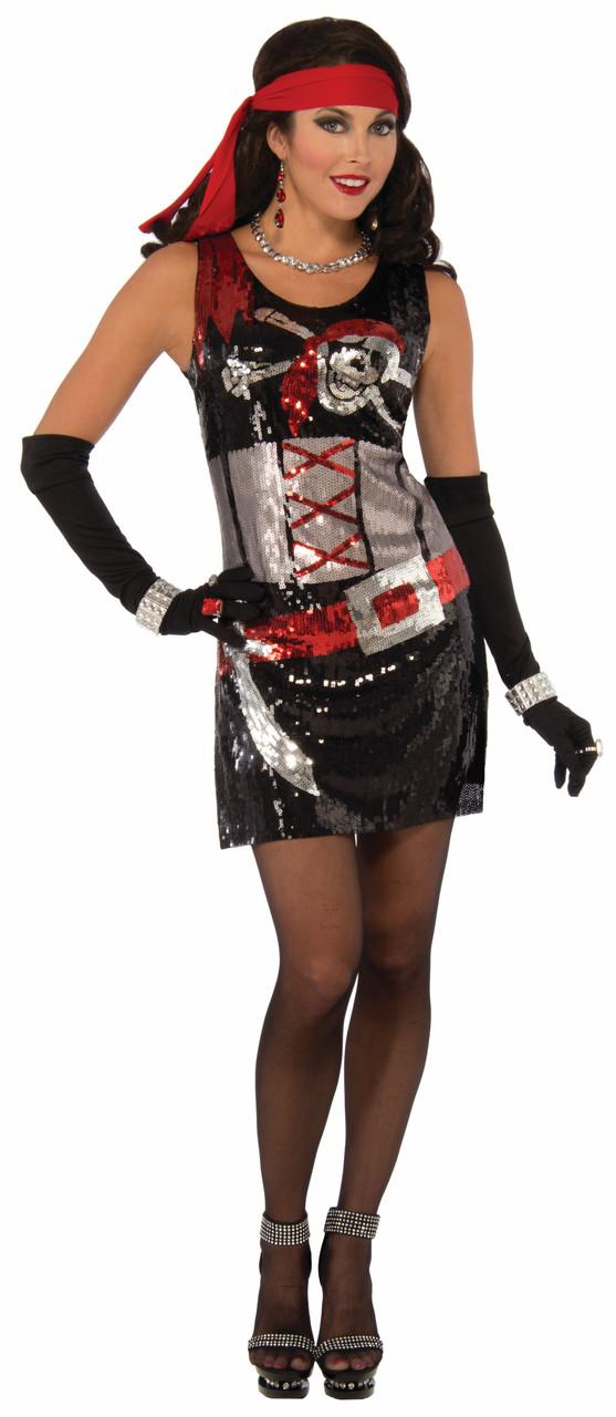 539e5a2b1 Sexy Pirate Buccaneer Halloween Costume Tank Dress Sequins Adult Women XS/S  M/L - www.dazzlingcostumes.com