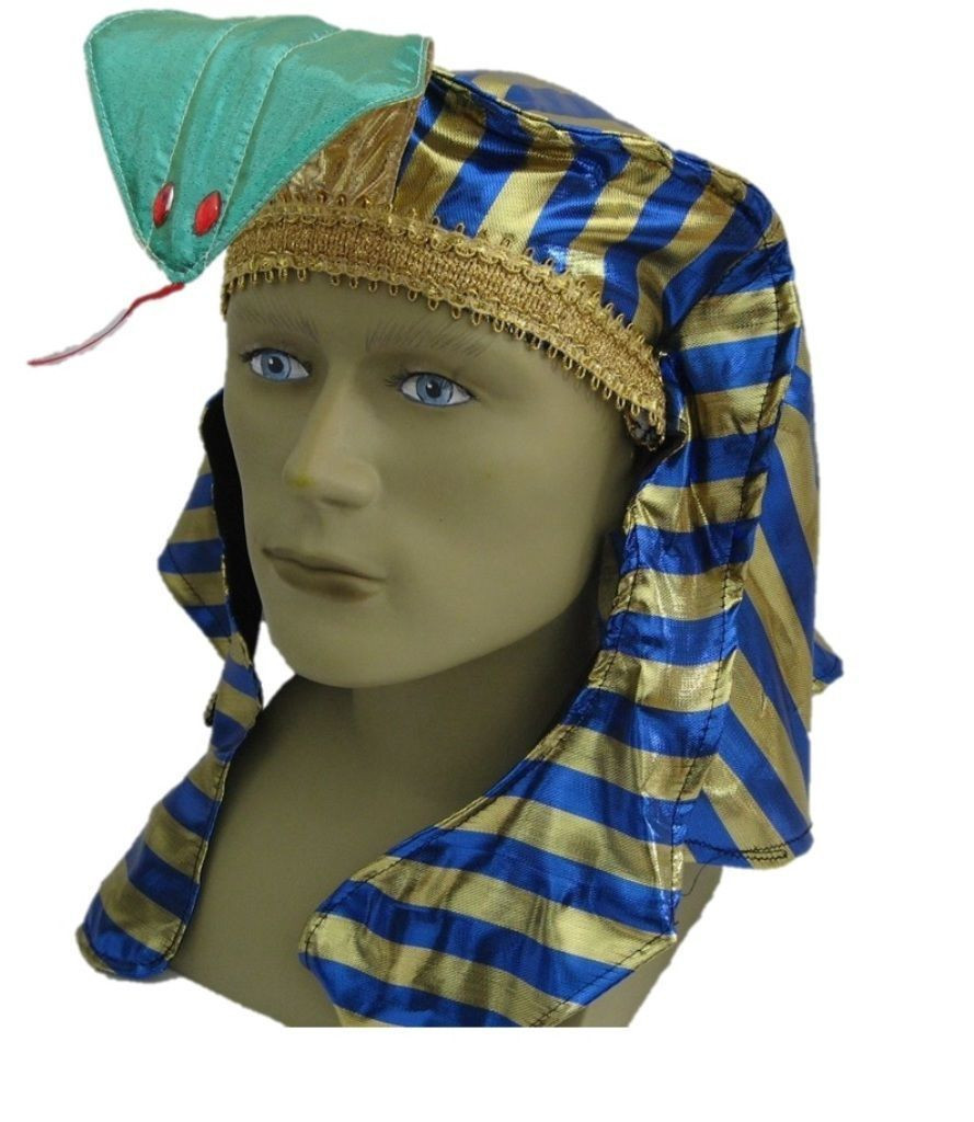 Blue Gold Pharaoh Hat King Tut Egyptian Roman Greek Men Costume Accessory  Easter - www.dazzlingcostumes.com 081a40eaa23