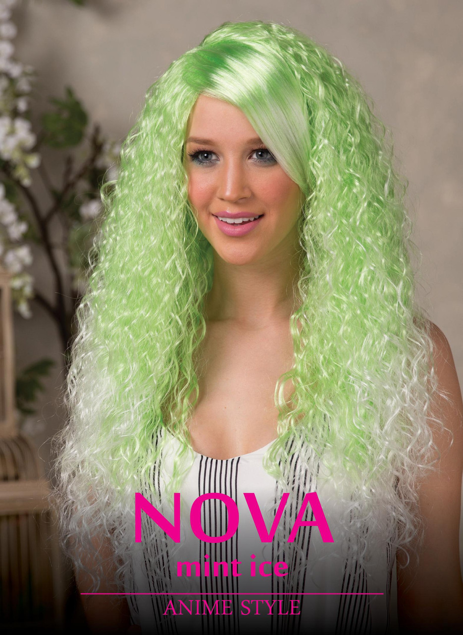 ae93142ff High Quality Blush Nova Green Ice Long Curly Costume Wig Adult Fantasy  Style - www.dazzlingcostumes.com