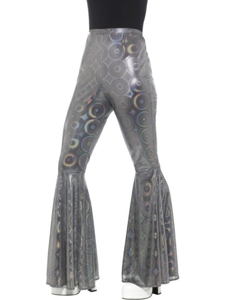 2d1637855b68f 70 s Disco Flared Trousers Costume Pants Womens Bell Bottom Silver  Holographic - www.dazzlingcostumes.com