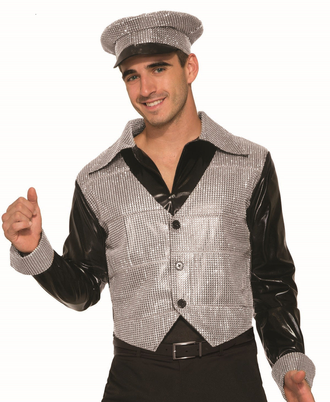 88cf49a5917d6 70s Disco Hat Retro Police Officer Silver Rhinestone Style Costume  Accessory - www.dazzlingcostumes.com