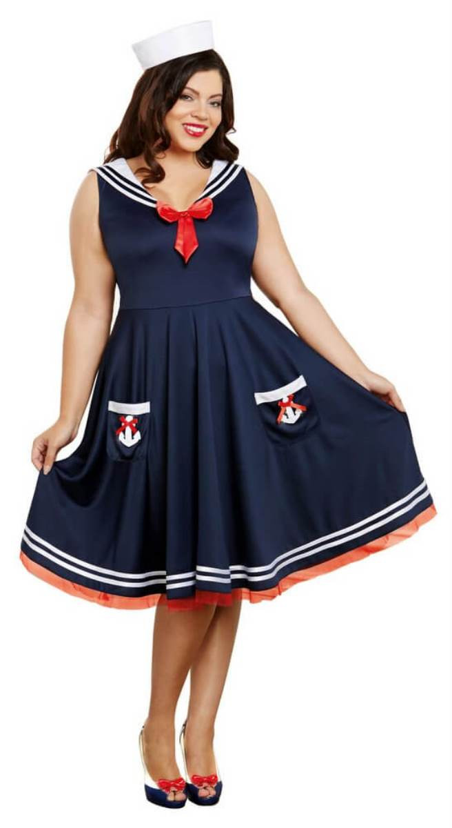 All Aboard Sailor Women Navy Retro Style Dreamgirl Costume Dress Plus Size  1X-2X