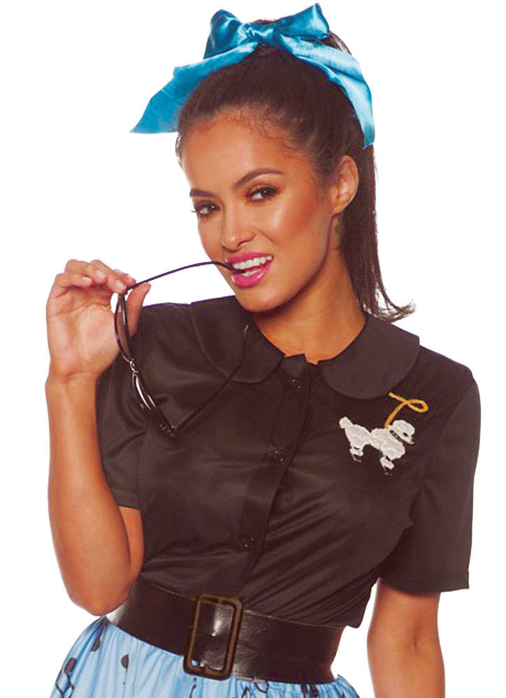 3778eb51aa 50's Black Poodle Costume Shirt Fancy Dress Retro Soda Shop Womens SM-XXXL  - www.dazzlingcostumes.com