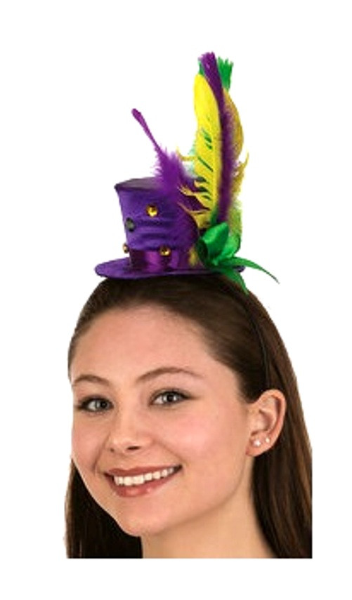 Mardi Gras Mini Top Hat Headband Feathers Ribbons Festival Costume  Accessory - www.dazzlingcostumes.com ba28ff34999c